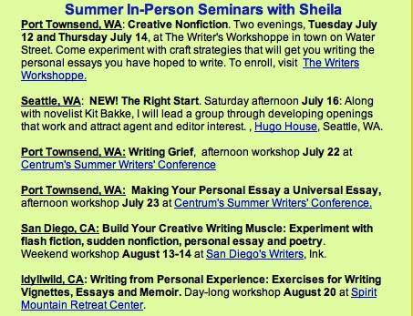 sheila bender writing publishing personal essays My book shimmering images: a handy little guide to writing memoir, is  america's  about writing and inspire them to live more fully via a well made  personal story  panels focusing on the art, craft, and business of writing and  publishing  sheila bender, james bertolino, robin cody, john daniel, tracy  daugherty, gary.